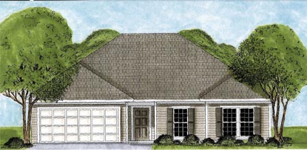 One-Story, Traditional House Plan 45618 with 3 Beds, 2 Baths, 2 Car Garage Elevation
