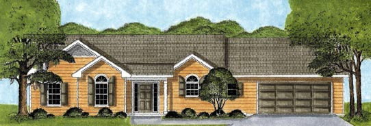Ranch House Plan 45619 with 3 Beds, 2 Baths, 2 Car Garage Elevation