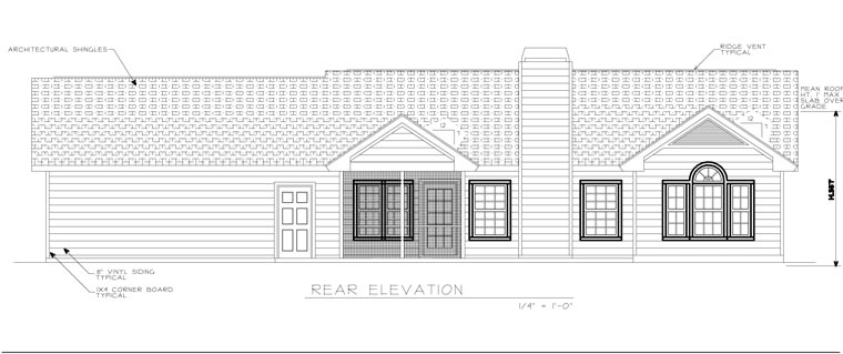 Ranch House Plan 45619 with 3 Beds, 2 Baths, 2 Car Garage Rear Elevation