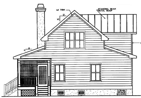 Country Farmhouse Southern House Plan 45621 Rear Elevation