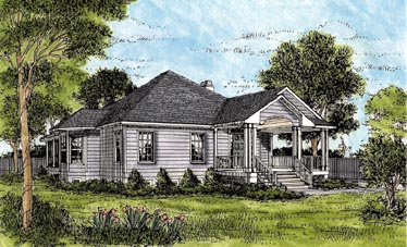 One-Story House Plan 45624 with 3 Beds , 3 Baths Elevation
