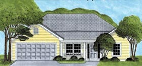 Ranch House Plan 45625 with 3 Beds, 2 Baths, 2 Car Garage Elevation