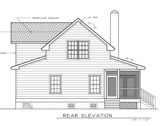 Country Farmhouse House Plan 45628 Rear Elevation
