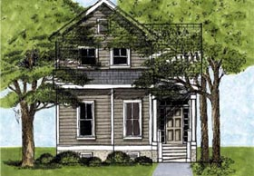 House Plan 45629 | Style Plan with 1589 Sq Ft, 3 Bedrooms, 3 Bathrooms Elevation