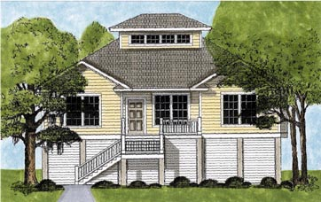 House Plan 45631 | Coastal Style Plan with 1603 Sq Ft, 3 Bedrooms, 2 Bathrooms, 2 Car Garage Elevation