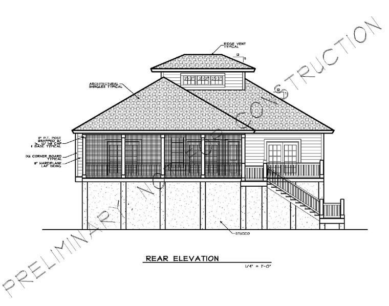 Coastal House Plan 45631 Rear Elevation