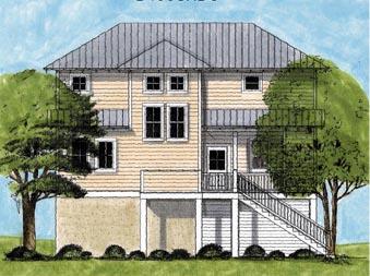 Coastal House Plan 45632 Elevation
