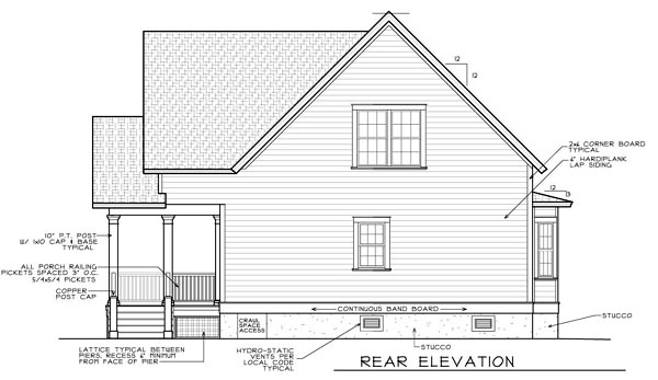 House Plan 45634 Rear Elevation