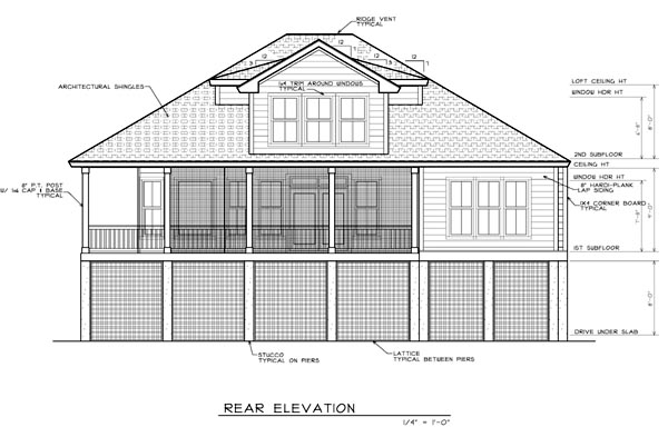 Coastal House Plan 45639 Rear Elevation