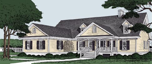 Country Traditional House Plan 45641 Elevation