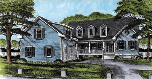 House Plan 45644 | Cape Cod Country Style Plan with 2139 Sq Ft, 3 Bedrooms, 3 Bathrooms, 2 Car Garage Elevation