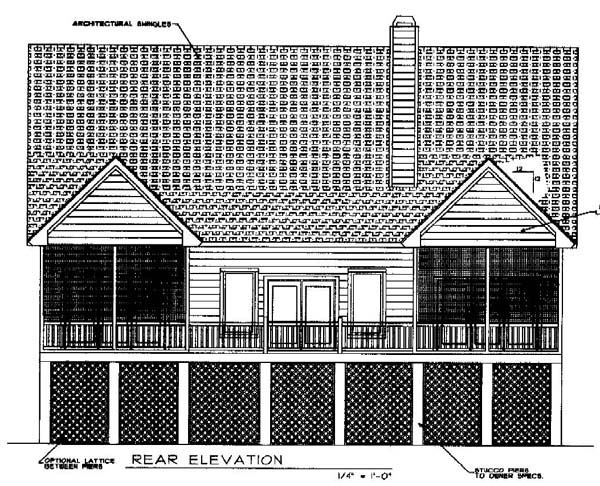 Cape Cod Coastal Country House Plan 45652 Rear Elevation