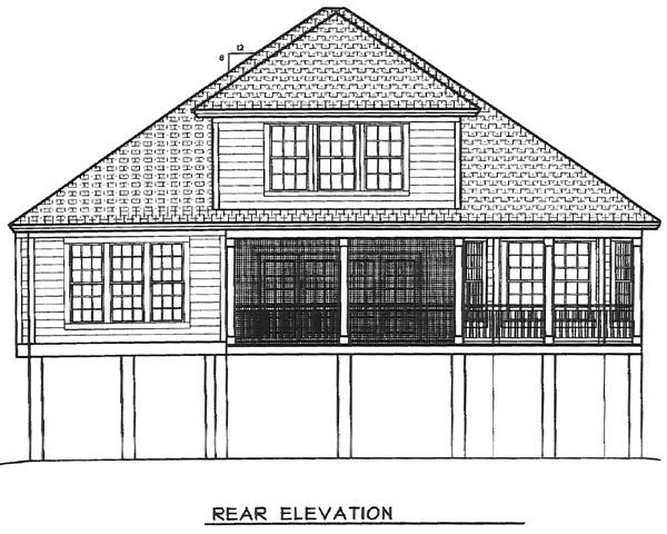 Coastal House Plan 45653 Rear Elevation