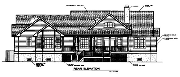Country House Plan 45655 Rear Elevation
