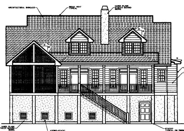 Coastal Country House Plan 45657 Rear Elevation