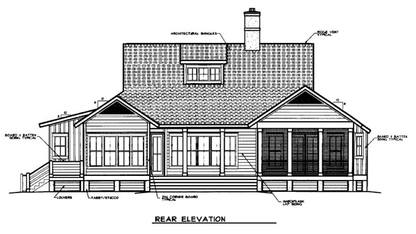 Country European House Plan 45663 Rear Elevation