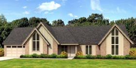 Contemporary House Plan 45713 with 4 Beds, 3 Baths, 2 Car Garage Elevation