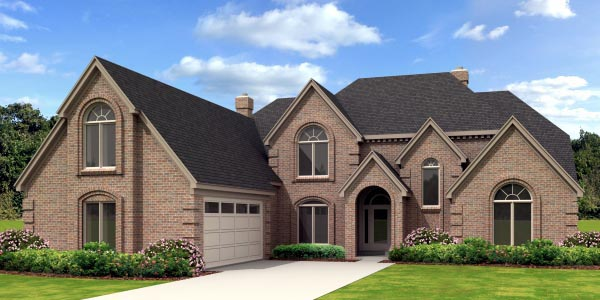 European House Plan 45717 with 4 Beds, 4 Baths, 2 Car Garage Elevation