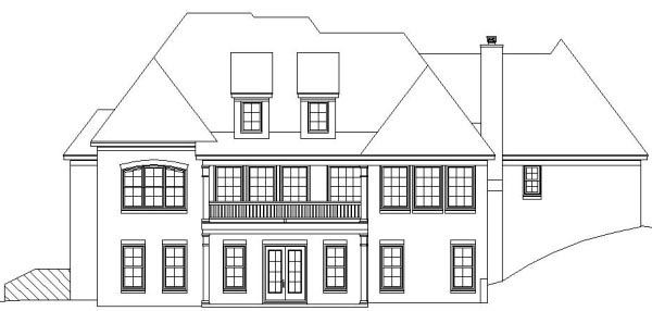 Country European Rear Elevation of Plan 45720