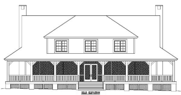 Country Rear Elevation of Plan 45724