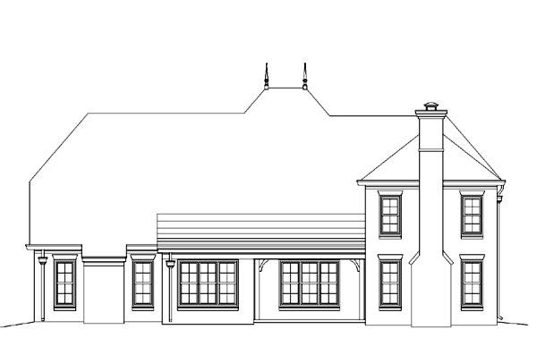 European House Plan 45727 Rear Elevation