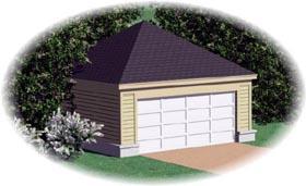 Garage Plan 45777 | Traditional Style Plan, 2 Car Garage Elevation