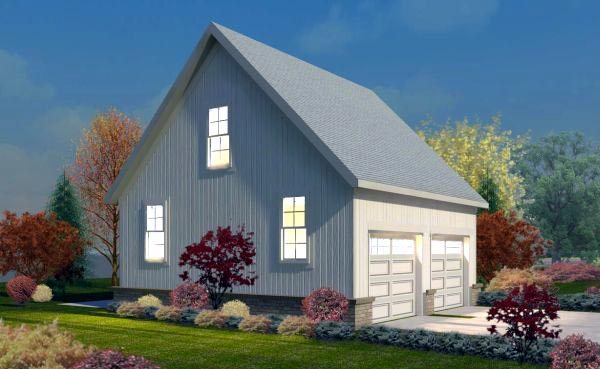 2 Car Garage Plan 45788 Elevation