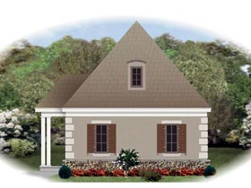 European 1 Car Garage Plan 45796 Elevation