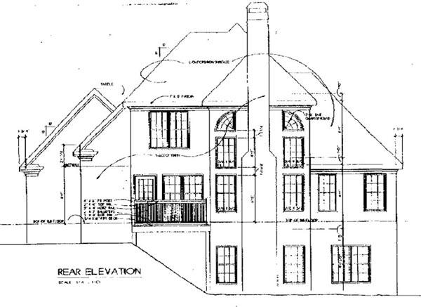 European House Plan 45810 Rear Elevation