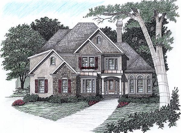 Traditional House Plan 45830 with 3 Beds, 3.5 Baths, 2 Car Garage Front Elevation