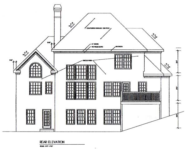Traditional House Plan 45830 with 3 Beds, 3.5 Baths, 2 Car Garage Rear Elevation