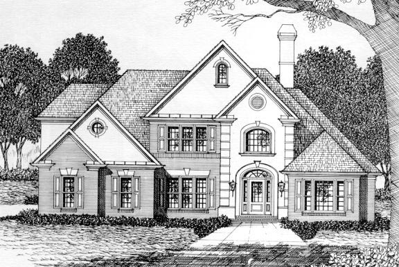 European House Plan 45844 with 4 Beds, 3.5 Baths, 2 Car Garage Elevation