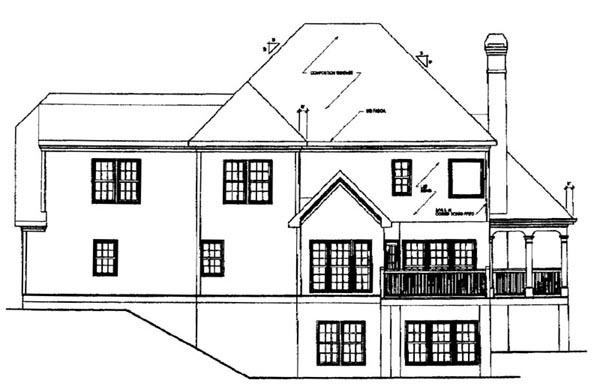 Traditional Rear Elevation of Plan 45845