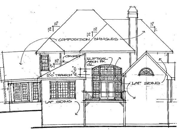 Traditional Rear Elevation of Plan 45847