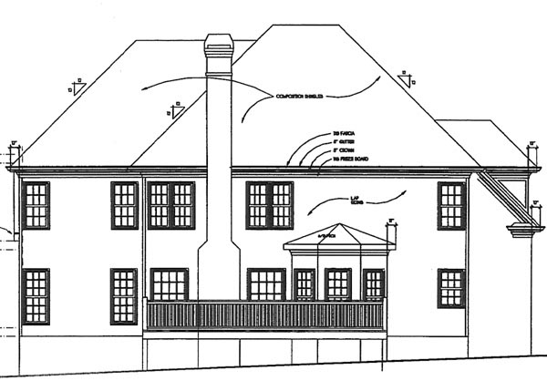 Traditional Rear Elevation of Plan 45848