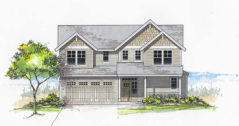 Country Craftsman Southern Traditional Elevation of Plan 46264