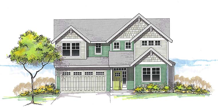 Country Craftsman Southern Traditional Elevation of Plan 46265