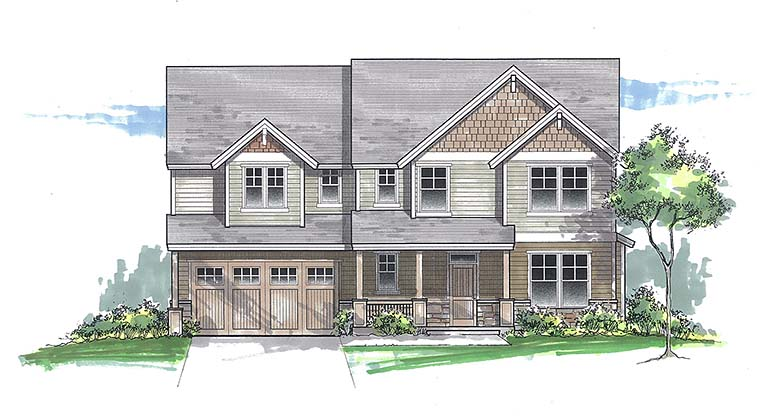 Country Craftsman Traditional House Plan 46270 Elevation