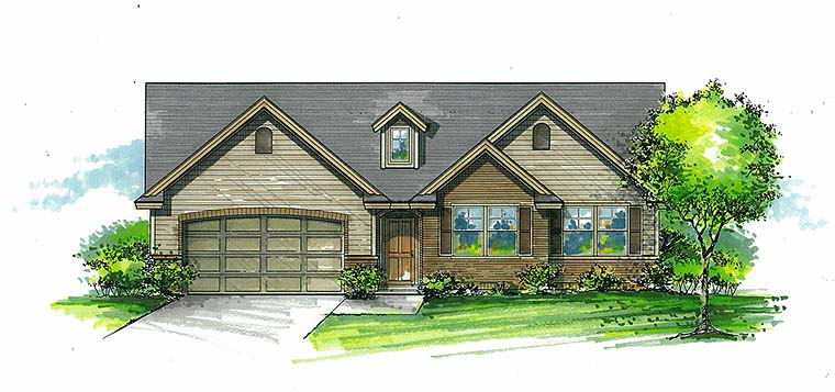 Craftsman Ranch Traditional House Plan 46272 Elevation