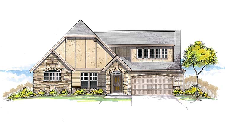 Craftsman Traditional Tudor House Plan 46282 Elevation