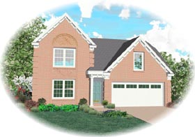 House Plan 46306 | Traditional Style Plan with 1732 Sq Ft, 3 Bedrooms, 2.5 Bathrooms, 2 Car Garage Elevation