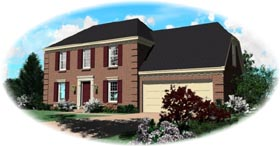Colonial House Plan 46308 with 3 Beds, 2.5 Baths, 2 Car Garage Elevation