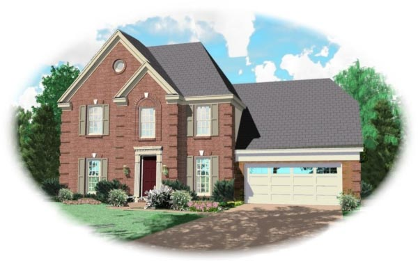 European House Plan 46310 with 3 Beds, 2.5 Baths, 2 Car Garage Elevation