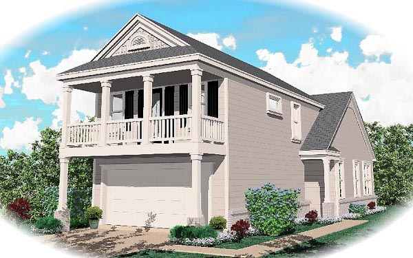 Colonial House Plan 46323 with 2 Beds, 3 Baths, 2 Car Garage Elevation