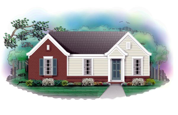 Traditional House Plan 46328 with 3 Beds, 1 Baths Elevation