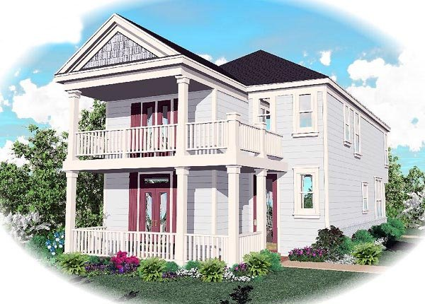 House Plan 46331 | Colonial Style Plan with 1802 Sq Ft, 4 Bedrooms, 3 Bathrooms, 2 Car Garage Elevation