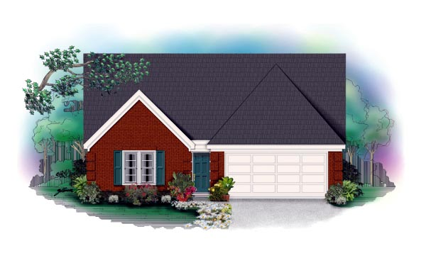 Traditional House Plan 46338 with 4 Beds, 3 Baths, 2 Car Garage Elevation