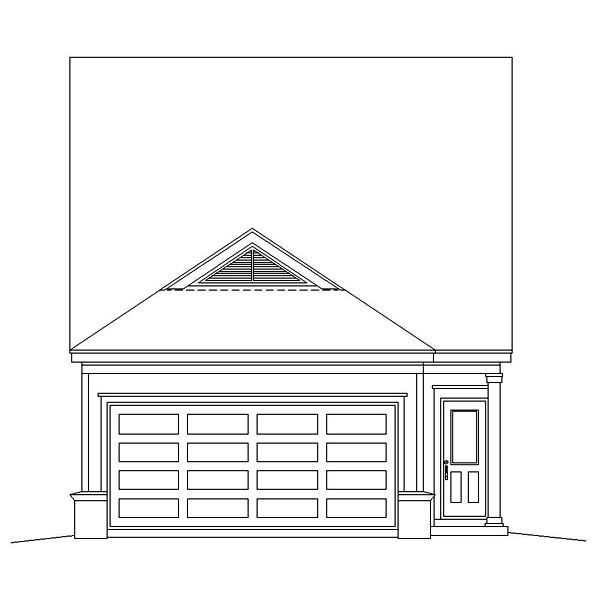 Narrow Lot, Ranch House Plan 46358 with 3 Beds, 3 Baths, 2 Car Garage Rear Elevation