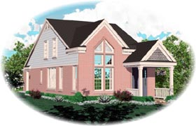 Traditional House Plan 46366 with 4 Beds, 3 Baths, 2 Car Garage Elevation
