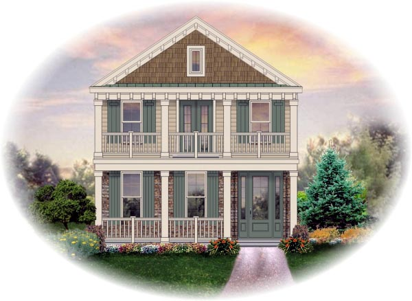 Narrow Lot House Plan 46369 with 3 Beds, 4 Baths, 2 Car Garage Elevation